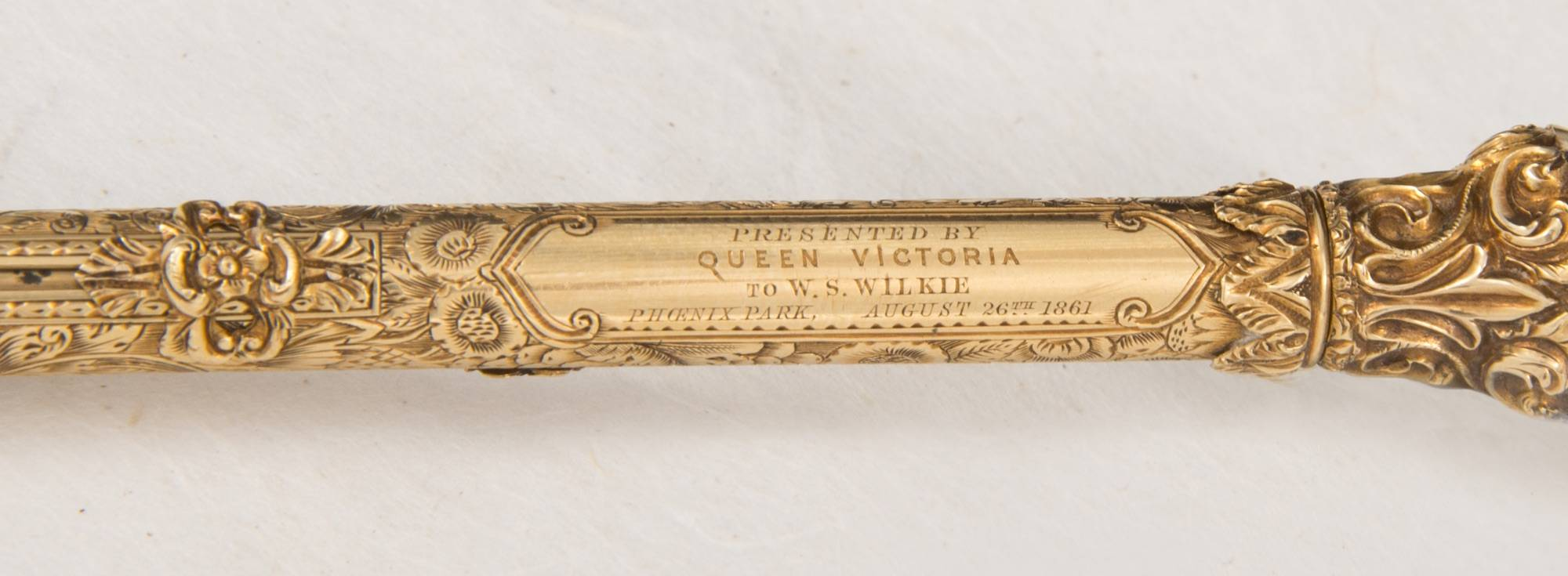 Gold pen presented by Queen Victoria to W.S. Wilkie, bailiff of the Phoenix Park, 1861